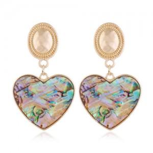 Seashell Texture Heart Pendants Design High Fashion Women Alloy Stud Earrings
