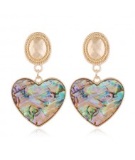 Seashell Texture Heart Pendants Design High Fashion Women Alloy Stud Earrings
