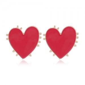 Enamel Studs Heart Design High Fashion Women Costume Earrings - Red