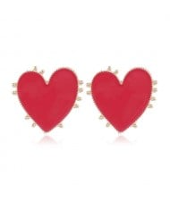 Enamel Studs Heart Design High Fashion Women Costume Earrings - Red