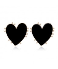 Enamel Studs Heart Design High Fashion Women Costume Earrings - Black