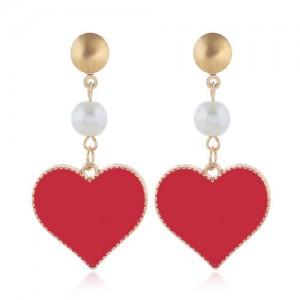 Oil-spot Glazed Dangling Heart Unique Fashion Women Alloy Earrings - Red