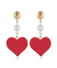 Oil-spot Glazed Dangling Heart Unique Fashion Women Alloy Earrings - Red