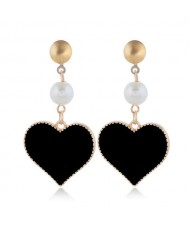 Oil-spot Glazed Dangling Heart Unique Fashion Women Alloy Earrings - Black