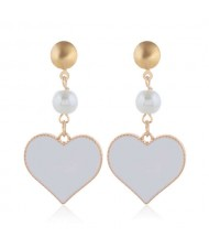 Oil-spot Glazed Dangling Heart Unique Fashion Women Alloy Earrings - White