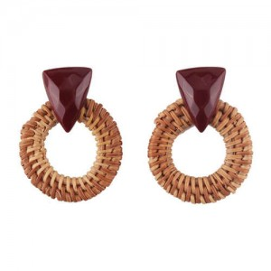 Brown Bamboo Weaving Hoop Fashion Women Earrings - Dark Brown