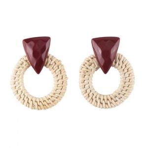 White Bamboo Weaving Hoop Fashion Women Earrings - Dark Brown