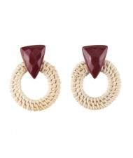 White Bamboo Weaving Hoop Fashion Women Earrings - Dark Brown