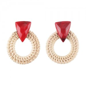 White Bamboo Weaving Hoop Fashion Women Earrings - Red