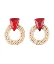 White Bamboo Weaving Hoop Fashion Women Earrings - Red