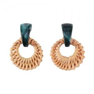 Folk Style Brown Bamboo Weaving Hoop Fashion Women Earrings - Green