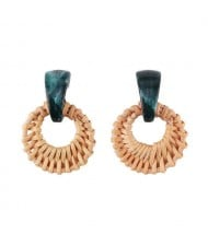 Folk Style Brown Bamboo Weaving Hoop Fashion Women Earrings - Green