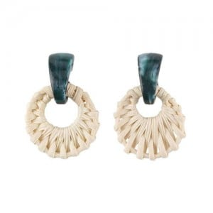 Folk Style White Bamboo Weaving Hoop Fashion Women Earrings - Green