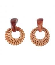 Folk Style Brown Bamboo Weaving Hoop Fashion Women Earrings - Brown