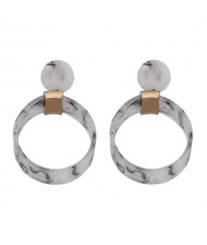Abstract Floral Pattern Resin Fashion Women Hoop Earrings - White