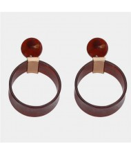Abstract Floral Pattern Resin Fashion Women Hoop Earrings - Brown