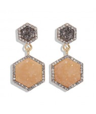 Hexagon Shape Design Rhinestone Rimmed Shining Fashion Women Alloy Stud Earrings - Apricot
