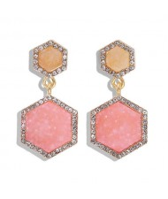 Hexagon Shape Design Rhinestone Rimmed Shining Fashion Women Alloy Stud Earrings - Pink