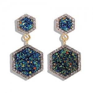 Hexagon Shape Design Rhinestone Rimmed Shining Fashion Women Alloy Stud Earrings - Blue