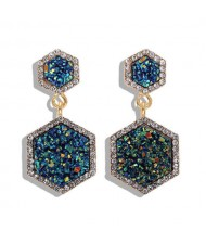 Hexagon Shape Design Rhinestone Rimmed Shining Fashion Women Alloy Stud Earrings - Blue