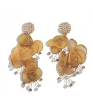 Yellow Flowers Cluster Online Star Choice Rhinestone and Pearl Fashion Earrings