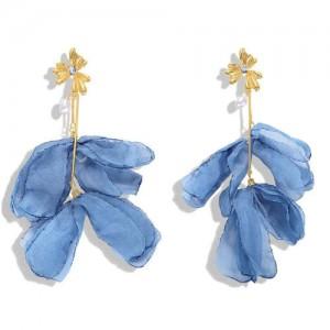 Blue Cloth Flower Design High Fashion Women Shoulder-duster Earrings