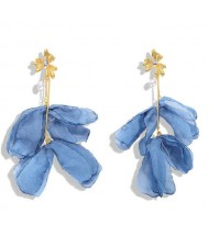 Blue Cloth Flower Design High Fashion Women Shoulder-duster Earrings