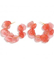 Pink Flowers Designer Fashion Women Hoop Earrings
