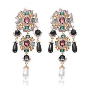 Baroque Fashion Gems Inlaid Floral Style Long Beads Tassel Women Shoulder-duster Earrings - Black