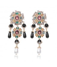 Baroque Fashion Gems Inlaid Floral Style Long Beads Tassel Women Shoulder-duster Earrings - Black