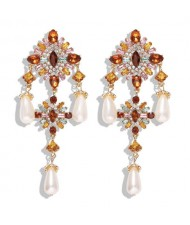 Baroque Fashion Gems Inlaid Floral Style Long Beads Tassel Women Shoulder-duster Earrings - White