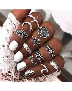 Vintage Style Mixed Fashion Elements Design 11 pcs Alloy Rings Set