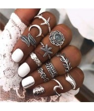 Vintage Style Mixed Fashion Elements Design 11 pcs Alloy Rings Set