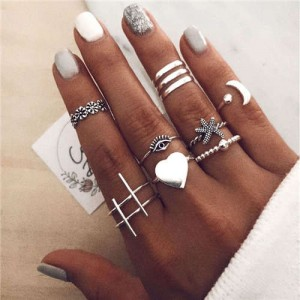 Heart Moon and Starfish Various Fashion Designs 8 pcs Women Alloy Rings Set