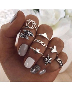 Hearts and Starfish Mixed Fancy Fashion Design 8 pcs Women Alloy Rings Set