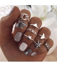 Hearts and Starfish Mixed Fancy Fashion Design 8 pcs Women Alloy Rings Set