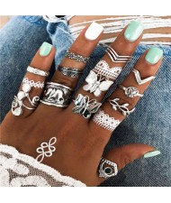 Butterflies and Elephant with Multiple Fashion Designs 14 pcs Women Alloy Rings Set