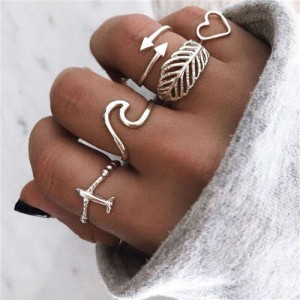 High Fashion Airplane Heart Arrow Mixed Elements 5 pcs Women Alloy Rings Set