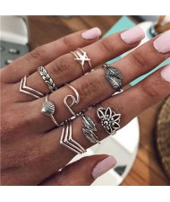 Leaves and Sea Elements Mixed Design 12 pcs High Fashion Women Alloy Rings Set
