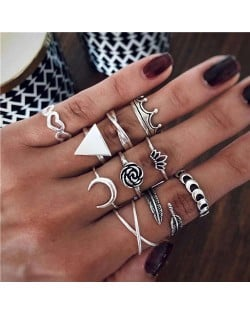 Rose Crown and Moon High Fashion Designs 10 pcs Women Alloy Rings Set