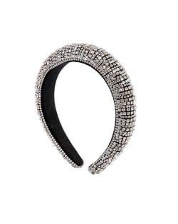 Baroque Style Rhinestone All-over Shining Design Women Headband/ Hair Hoop - Silver