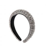 Baroque Style Rhinestone All-over Shining Design Women Headband/ Hair Hoop - Silver