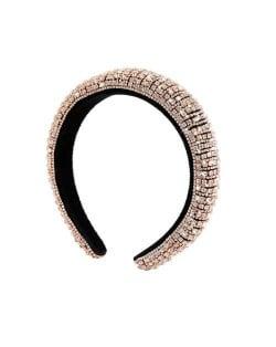 Baroque Style Rhinestone All-over Shining Design Women Headband/ Hair Hoop - Golden