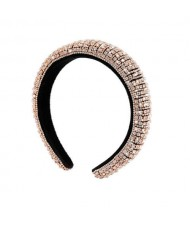 Baroque Style Rhinestone All-over Shining Design Women Headband/ Hair Hoop - Golden