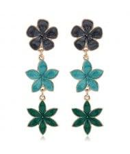 Oil-spot Glazed Sweet Flowers Cluster Dangling High Fashion Women Alloy Earrings - Green