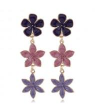 Oil-spot Glazed Sweet Flowers Cluster Dangling High Fashion Women Alloy Earrings - Violet