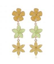 Oil-spot Glazed Sweet Flowers Cluster Dangling High Fashion Women Alloy Earrings - Yellow