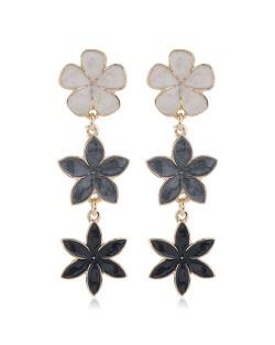 Oil-spot Glazed Sweet Flowers Cluster Dangling High Fashion Women Alloy Earrings - Black