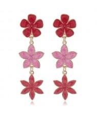Oil-spot Glazed Sweet Flowers Cluster Dangling High Fashion Women Alloy Earrings - Red