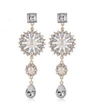 Glistening Flower Dangling Fashion Alloy Women Statement Earrings - White